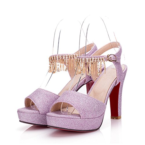 LGK&FA Estate Donna Sandali sandali Donna Scarpe di nozze di diamante tallone grossolana Super tavola di acqua alta Bocca di pesce scarpe di grandi dimensioni 37 argento 39 purple 8 cm high heel