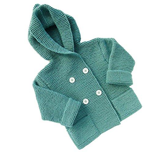 Foto de K-youth® Baratos Bebe Niña Niño Ropa Invierno Abrigos Con Capucha Punto Jersey Chaqueta Rebeca (Verde, 2-3 años)