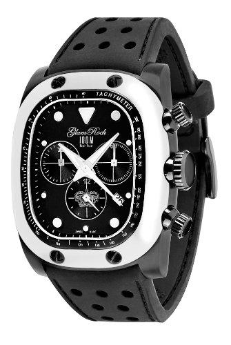 Glam Rock 0.96.2459 - Reloj analógico de cuarzo unisex, correa de silicona color negro