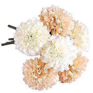 Marlles Ramo de Flores Artificiales de crisantemo de Seda con 6 Cabezales para Novia, Ramo de Boda, decoración para el…