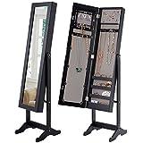 COSTWAY Schmuckschrank Standspiegel Spiegelschrank Schmuckkasten Schmuck 34 x 36 x 145cm schwarz/weiß (Schwarz)