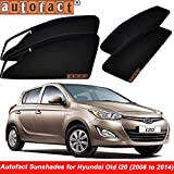 #10: Autofact Magnetic Window Sunshades/Curtains for Hyundai I20 Old Model - Set of 4pc - Front 2pc- with Zipper, Rear 2Pc without Zipper (Black)