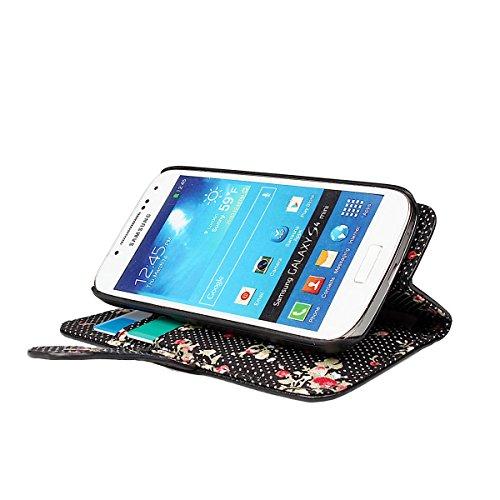 xhorizon® Prämie PU [Schwarz] Leder Geldbeutel Stand Schleife Band Kasten Case Hülle Decke/Beutel/Holster Tasche mit Blumen Innenraum für [4.7inch] iPhone 6 mit einer sauberer Kleidung Schwarz mit Erdbeeren