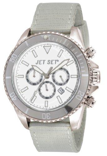 Jet Set - J21203-13 - Speedway - Montre Homme - Quartz Chronographe - Cadran Blanc - Bracelet Tissu Gris
