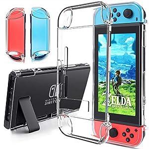 Nintendo Switch Tasche,Gogoings Nintendo Switch Hülle Zubehör – Weich Crystal Clear mit Luftkissen Technologie und Tropfenschutz Nintendo Switch Case Schutzhülle für Switch Konsole und Controller
