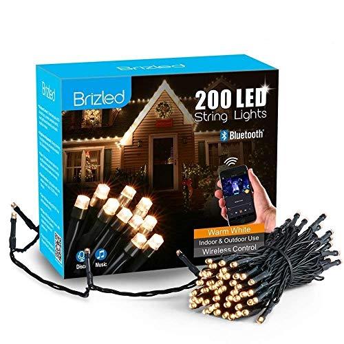 Brizled Luci Albero di Natale 30M 200 LED, Smart Luci Natalizie da Esterno ed Interno controlla con APP, 16 Modo di lampeggiare, Funzione di Timer e Sensore di Voce, Luci Bianco Caldo Addobbi Natalizi