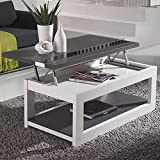 M-020 Table Basse relevable Moderne Blanche et Grise Montreal