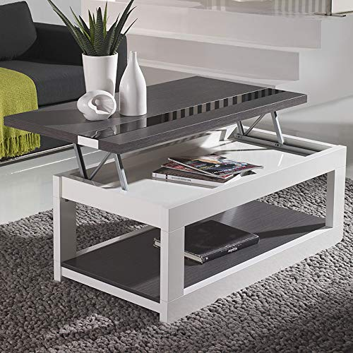 M-020 - Mesa baja elevable moderna, color blanco y gris: Amazon.es ...