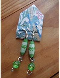 Handmade by Mimi Pinto Paper Bead drop earrings with silver plated ear wire/hook