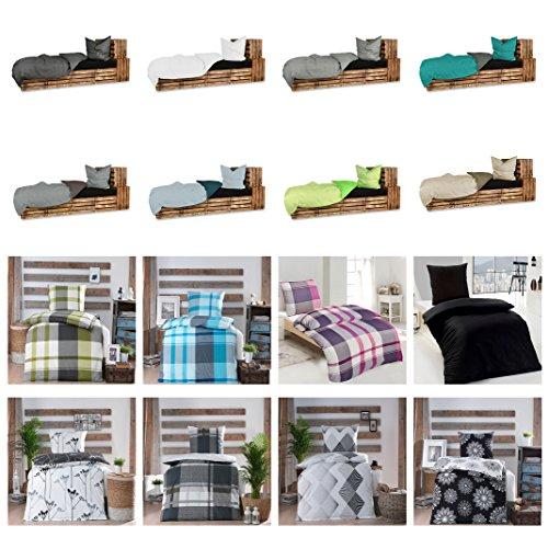 Baumwolle Renforcè Bettwäsche 2-4 teilig in verschiedenen Größen und viele Designs - 4 tlg. Set 2x155x220 + 2x80x80 cm Baumwolle Renforcè Bettwäsche Josef Grün + GRATIS 1x Waschhandschuh von Falco (Pack Bettwäsche-set)