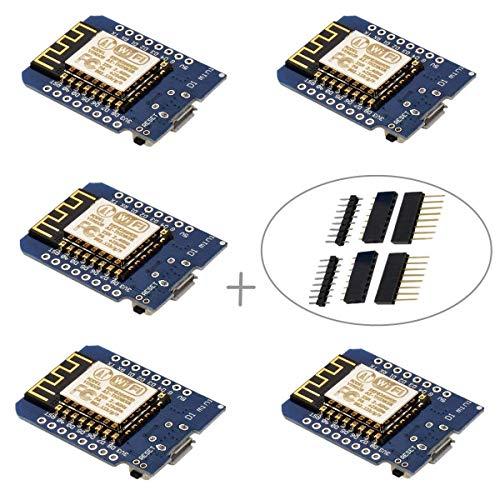 IZOKEE D1 Mini NodeMcu Lua 4M Bytes ESP8266 ESP-12F WLAN WiFi Internet Module Entwicklungsboard für NodeMcu Arduino, 100% Compatible with WeMos D1 Mini (Packung mit 5) D1 Mini