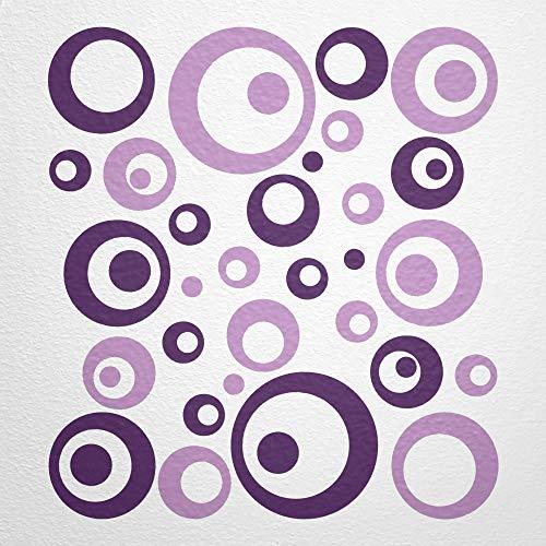 WANDfee Wandtattoo Kreise Punkte 50 Aufkleber Wandaufkleber Kinderzimmer Wohnzimmer Flur Fliesenaufkleber Bad Badezimmer Küche -