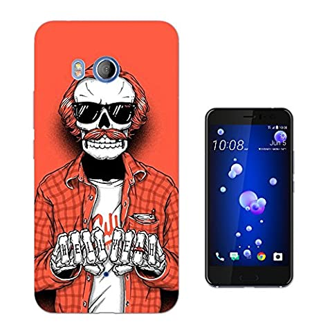 001558 - Cool Trendy Fun Hell Yeah Skull Biker Tattoo Cool Design HTC U11 Fashion Trend Protecteur Coque Gel Rubber Silicone protection Case Coque