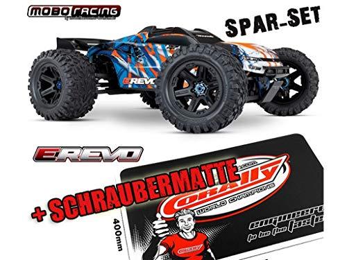 Traxxas 86086-4 E-Revo 1:10 VXL Brushless RTR 2,4GHz + Schraubermatte + mobo-Racing Sticker orange (1 Revo E 10)