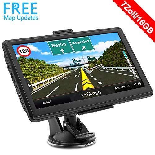 GPS Navi Navigation für Auto 7 Zoll 16GB mit POI Blitzerwarnung Sprachführung Fahrspurassistent und 2019 Europa 52 Karten (1)