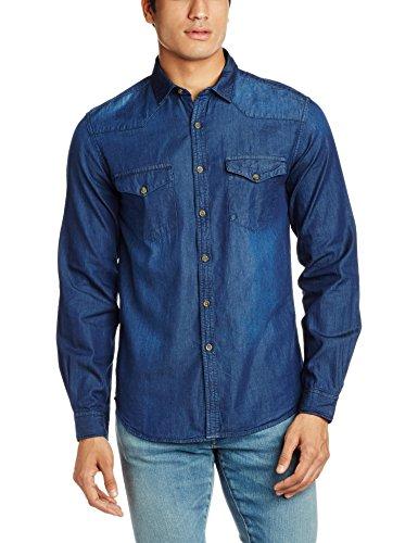 Highlander Men's Casual Shirt (13110001462366_HLSH008880_Medium_Dark Blue)