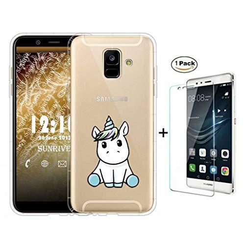 Custodia Samsung Galaxy A6 2018 Cover Fanxwu TPU Morbido Ultra Magro Trasparente Gel Case [Pellicola Vetro Temperato] Anti Graffio Bumper Cassa - Bambino Unicorno