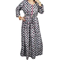 Mogul Womans Maxi Dress Grey Printed Flowy Bohemian Button up Party Dresses