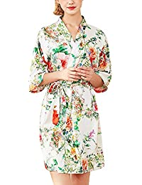 Mujer Corto Casual Pijama Estampado Floral Satén Kimono Servicio a Domicilio