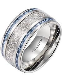 Mens Titanium Ring- 10mm- Meteorite Inlay Wedding Band Ring With Blue Carbon Fiber