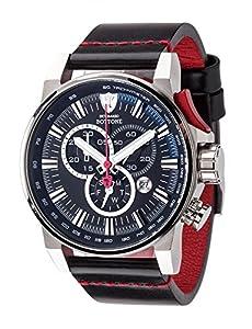 DeTomaso Bottone XXL - Reloj de cuarzo para hombres, con correa de cuero