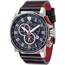 DeTomaso Bottone XXL - Reloj de cuarzo para hombres, con correa de cuero de color negro, esfera plateado y negro