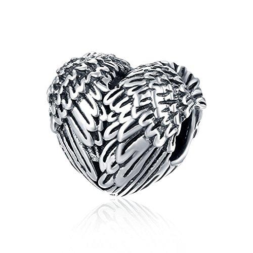 NYKKOLA 925 Sterling Silber Vintage Engel Flügel Herz Liebe Charme Perle passt Pandora Armband
