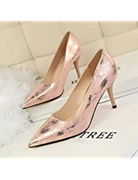 Xue Qiqi Style rétro avec épais lumière high-heeled nuit pointe de buse mince vidéo chaussures femmes chaussures à talons hauts, 37, noir