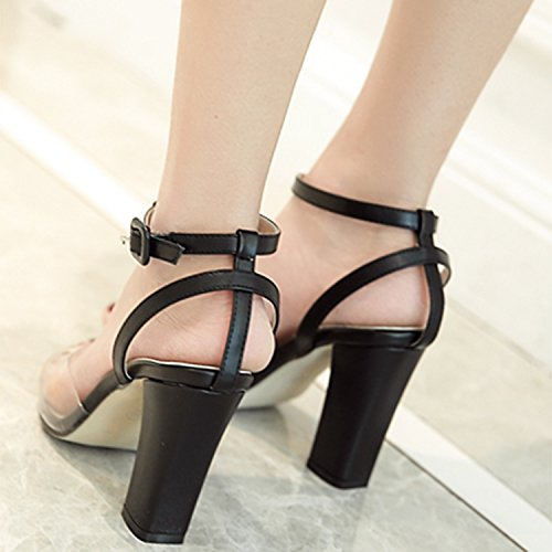 Oasap Women's Fashion T-strap High Chunky Heels Sandals Black