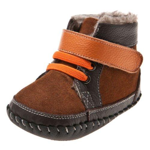Little Blue Lamb - Chaussures premiers pas cuir souple garçon | Montantes fourrées marron gris Taille: 6-12 mois