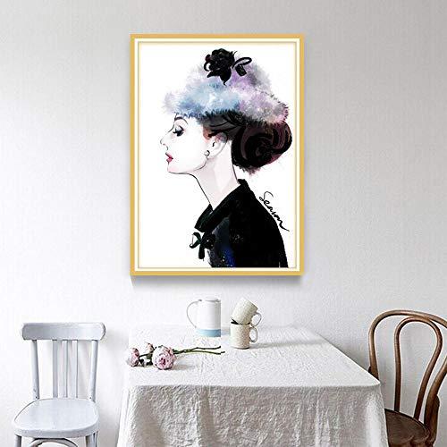 Diamant Stickerei Gemälde Strass Eingefügt Malerei Kreuzstich Für Stickerei Malerei Set Wanddekoration Audrey Hepburn 40X50Cm ()