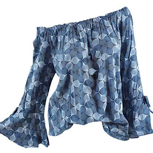 Kviklo Deman Plus Size Top Shirt 3D Druck auf die Schulter Knopf Flare Langarm Loose Bluse Oversize(48,Blau) -