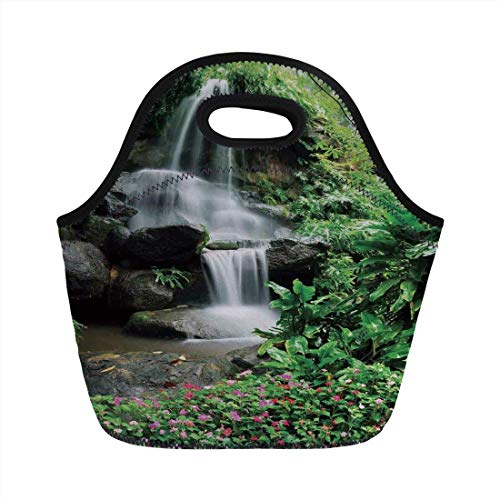 Portable Bento Lunch Bag,Waterfall,Waterfall Pond Flowers Tropical Plants Majestic Fresh Jungle Garden,Green Dark Brown White,for Kids Adult Thermal Insulated Tote Bags - Kids Garden Hoe
