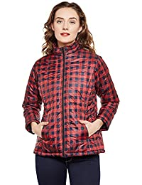 MARTINI Women Check Puffy Winter Jacket (Red , XX-Large)