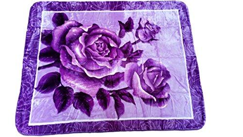 YSN Home Collection - Wolldecke Decke Kuscheldecke Tagesdecke - 160 x 200 cm - Rosen Blumen Blumenmotiv romantisches Geschenk Liebe (lila) (Blumen-bett-decke)
