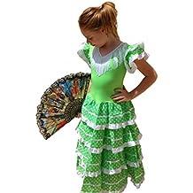La Senorita Vestido Flamenco Español Traje de Flamenca chica/niños verde lima (Talla 6, 110-116 - 75 cm, 5/6 años, verde)