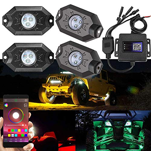 2nd-Gen RGB LED Rock Lights with Bluetooth Controller, Timing Function,Music Mode - 4 Pods Multicolor Neon LED Light Kit