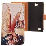 Lankashi PU Flip Leder Tasche Hülle Case Cover Schutz Handy Etui Skin Für Huawei Honor 3C Wing Girl Design