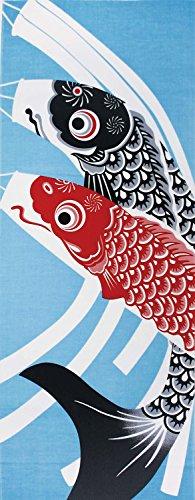 Yamako Japanisches Tenugui (Japanisches Face Handtuch) Gobelin 4Jahreszeiten 12Monate Muster Serie-Mai Koi-Nobori Carp Banner-von 87550 (Noren Koi)