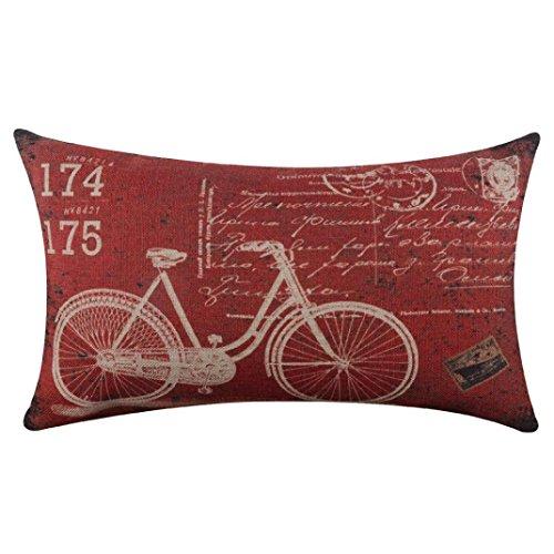 """Ronamick Kissenbezug, rechteckig, 30 x 50 cm, Baumwolle und Leinen, rechteckig, mit Fahrrad-Druck, Flachs-Kissenbezug, dekorativ, Baumwolle & Leinen, a, 30cm*50cm/12""""*20"""""""