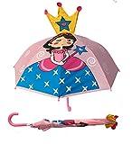 3D Kinder Regenschirm Princess | Prinzessin mit Krone und Zauberstab | Farbe: blau, rosa, pink, gelb | Kinder Regenschirm oder Sonnenschirm für Mädchen | Regenschirme für Schulkinder Kindergartenkinder | Wasserdicht und Winddicht | leichtes öffnen - keine Verletzungsgefahr | Schützt auch vor Sonne und Hitze | Länge: 59cm, Ø 73cm | Kids Umbrella | Premium Kinderregenschirme von HECKBO