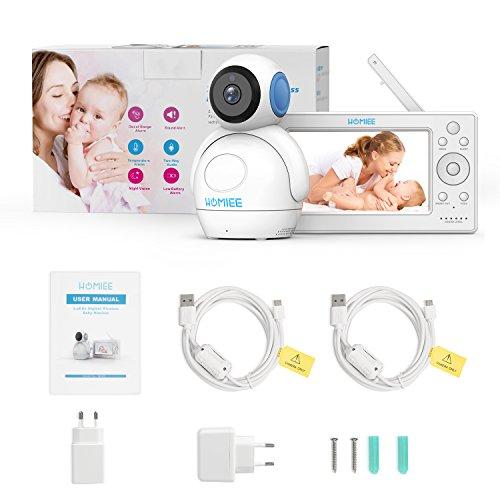 Video Babyphone,HOMIEE Babyphone 360 °Baby Kamera, 5 Zoll LCD Monitor und 300m 2,4G Wireless Verbindung, Wiederaufladbarer Monitor,Ton und Temperaturalarm, Nachtsicht, Wiegenlied und Zweiwege Audio - 8