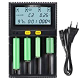 LYPULIGHT Batterie Ladegerät Akku Ladegerät Universal LCD-Display 4 Schacht Plug Ladestation für NI-MH NiCd A AA AAA SC, 20700, 26650, 18650 Lithium-Ionen-Batterien mit EU-Adapter