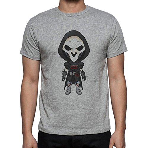 Reaper Death Black Skull Big Head Herren T-Shirt Grau