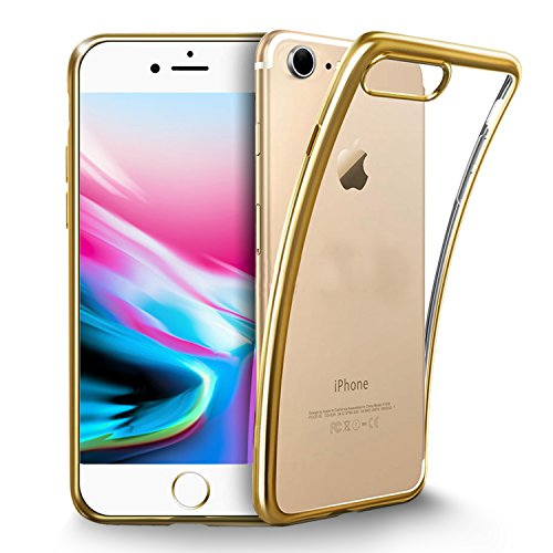 Coque iPhone 8, KKtick Housse Etui Transparente iPhone 8 Housse de Protection Ultra Mince TPU Silicone avec Absorption de Choc et Anti-Scratch Case pour Apple iPhone8/ iPhone 7(Transparent) Or