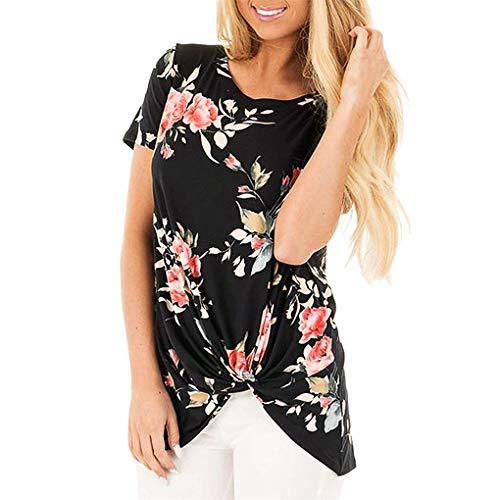 T- Shirt Für Damen, Dorical Frauen Sommer BeiläUfige Blumendruck Rundkragen Kurze Ärmel Knot Bluse,Kurzarmshirts,Lose Short Sleeve Elegant T-Shirt S-XXL Ausverkauf(Schwarz-3,XX-Large)