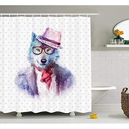 KYCD Lustige Dekor Kollektion Hipster Wolf Hund in Sonnenbrille und Pullover Retro Mode Aquarell Stil Illustration, Polyestergewebe Badezimmer Duschvorhang, Set mit Haken, Lilac Blue 60