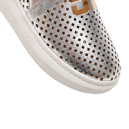VogueZone009 Femme Tire Rond à Talon Bas Pu Cuir Couleurs Mélangées Chaussures Légeres Argent