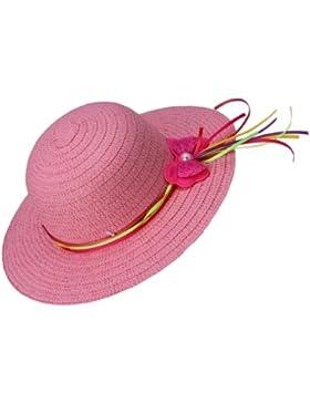 JTC Bambina Cappello e Berretto da Sole di Paglia e Nastro per Bambine 1 -5Anni con Farfalla Colorato