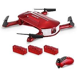 Drone con cámara, GoolRC T37 Mini 2.4G 6 Axis Gyro WIFI FPV 720P Cámara HD Quadcopter, Sensor de gravedad de control remoto, Plegable RC Selfie Pocket Drone con dos baterías adicionales